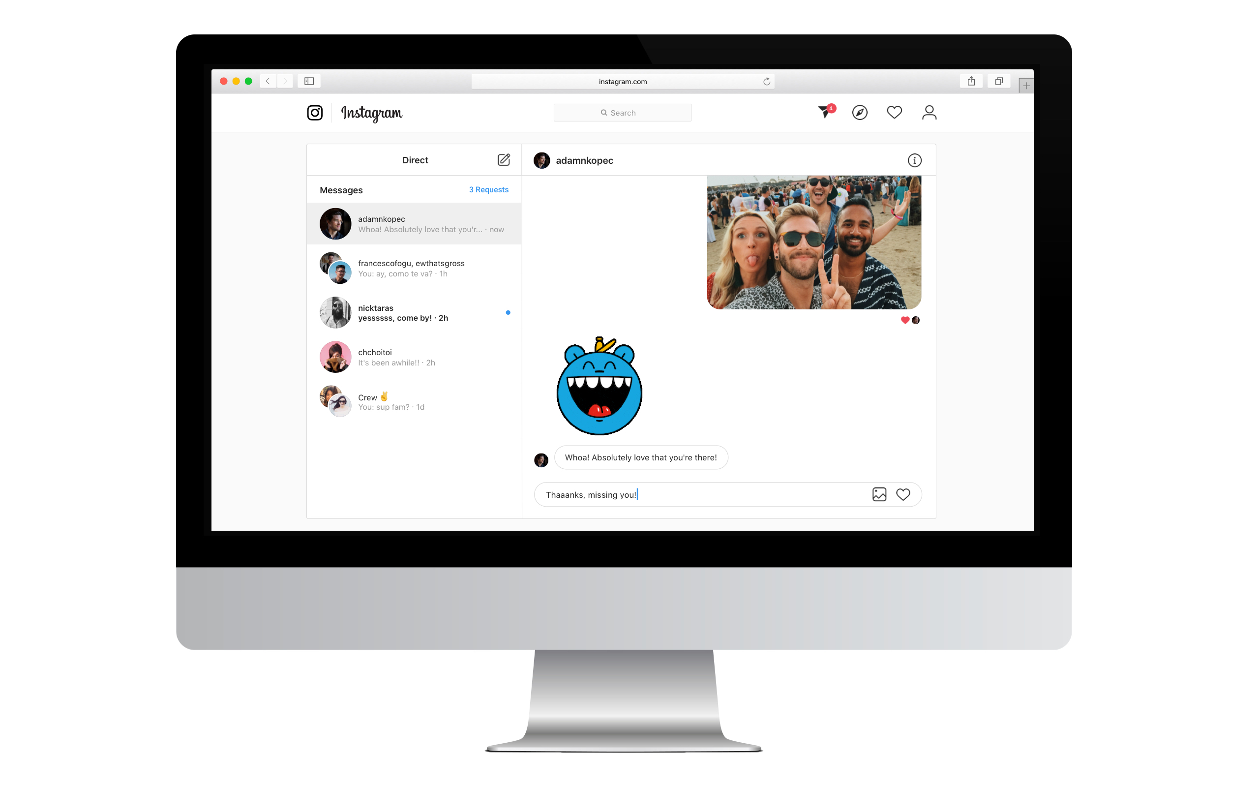 نمایش دایرکت برای نسخه وب اینستاگرام
